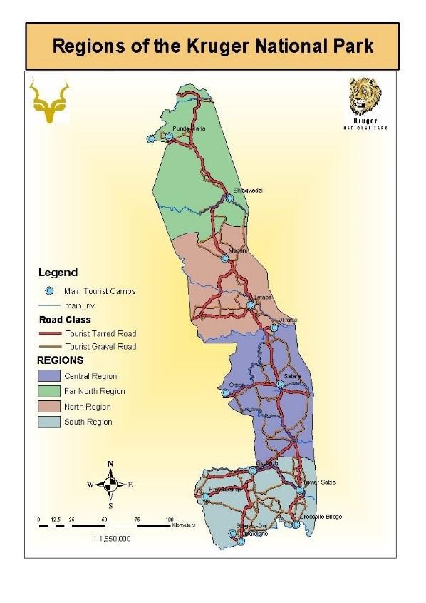 Regions of Kruger National Park