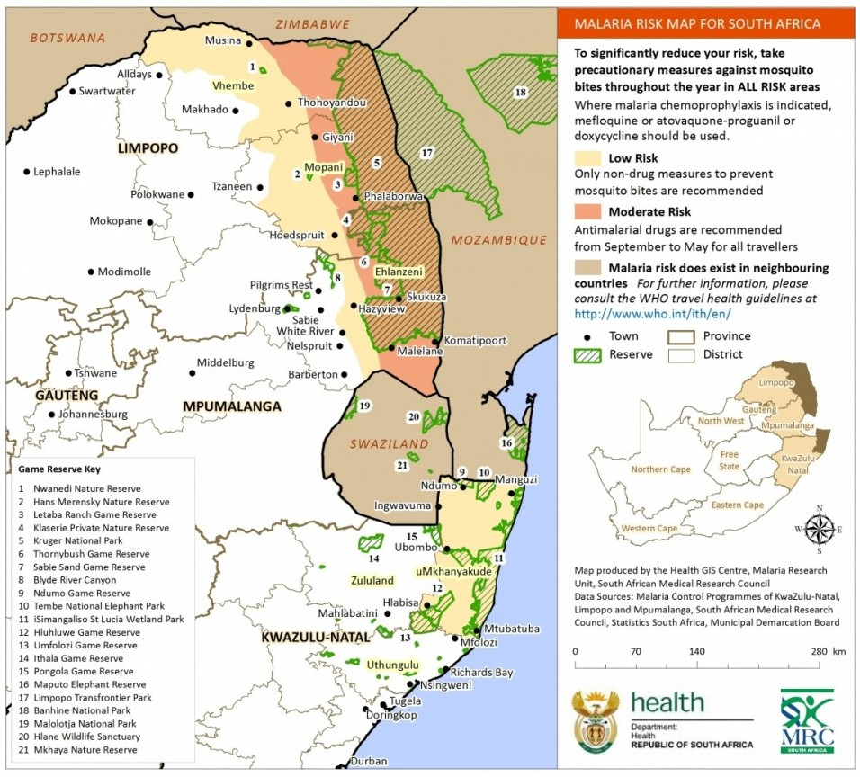 Malaria Map South Africa