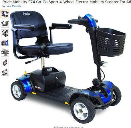 4-Wheel Electric Mobility Scooter For Adults Pride Mobility S74 Go-Go Scooter