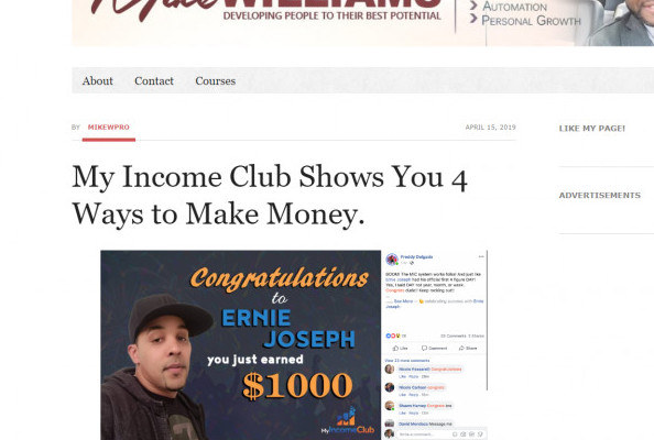 My Income club Review- 4 different earning opportunities.