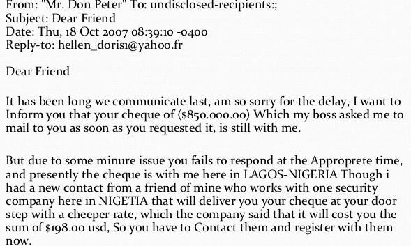 Online scam example