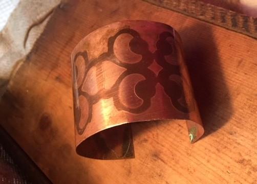 etched copper bracelet