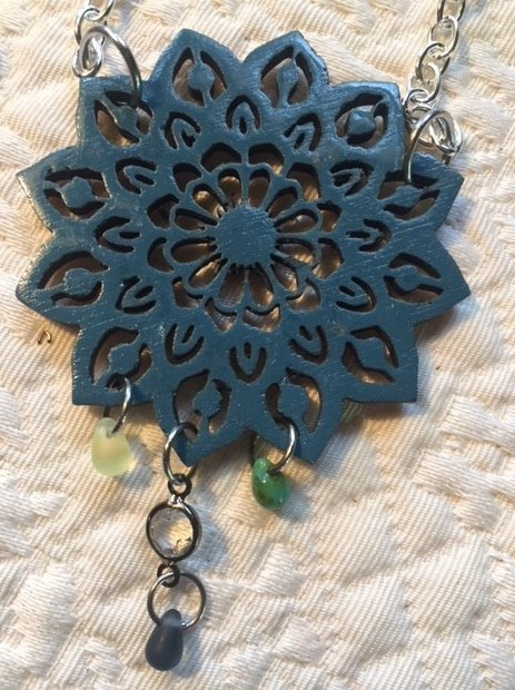 laser cut and painted wood necklace