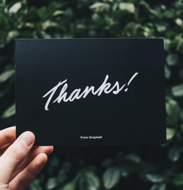 Picture of card of thanks