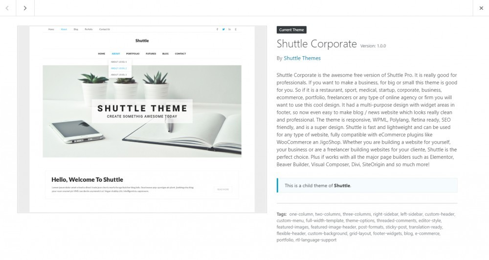 Shuttle corporate theme preview