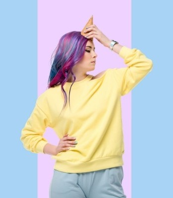 inspirational unicorn quotes woman with an ice cream cone on her head