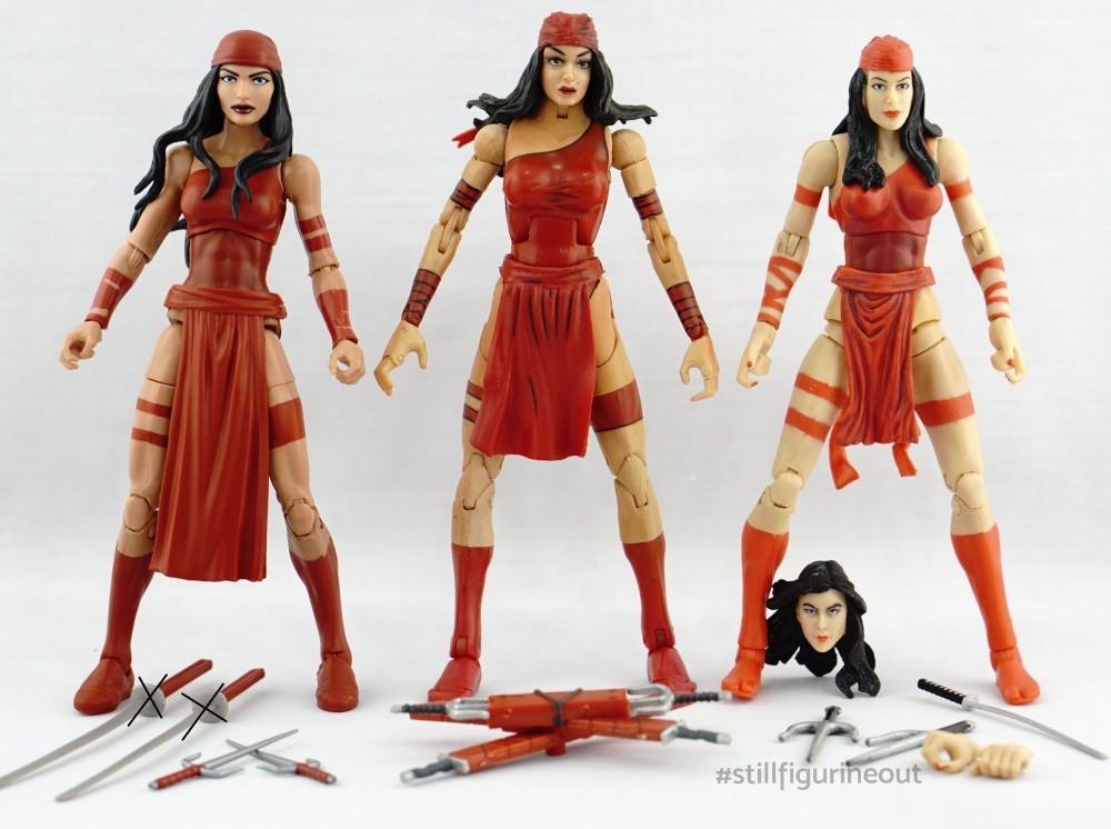 Marvel Legends - Hasbro Elektra (SP//DR BAF Wave) vs Toybiz Elektra (Series 4) vs Hasbro Elektra (2-pack)