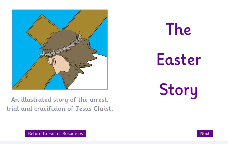 The title page of the Easter story with Jesus carrying the cross