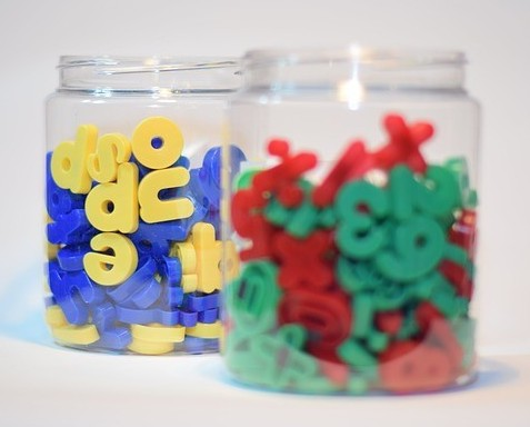 Magnetic letters in jars
