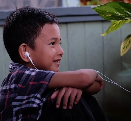 Child listening to song