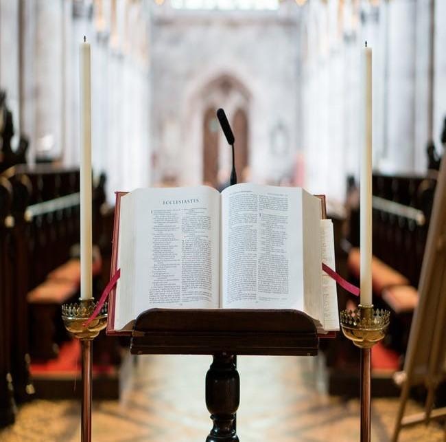 NIV Bible on Pulpit