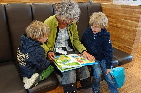 Grandma figuring out how to teach phonics to children