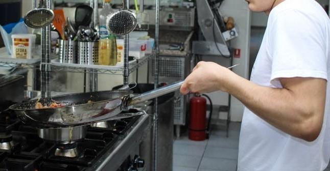 chef sautéing
