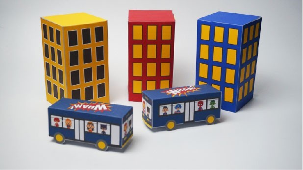 Superhero Printable Buildings and Buses