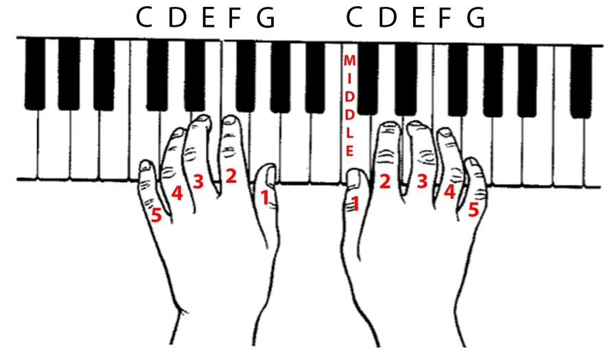 Hands, keys and finger numbers