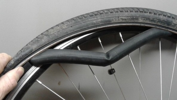 installing bicycle tube into tire