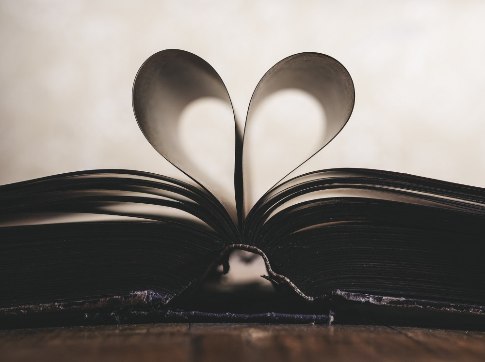 Pages of a book shaped like heart. Don't you just love books?