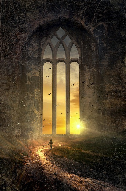Fantasy land: Someone walking to a huge window. Behind the window the sun rises.