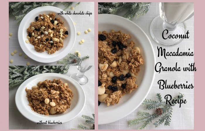 Coconut Macadamia Granola with Blueberries recipe