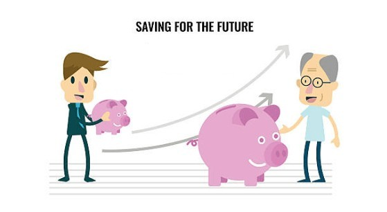 When Should you  start planning retirement- Passive Income Growth - young man with small piggy bank and old man with huge piggy bank