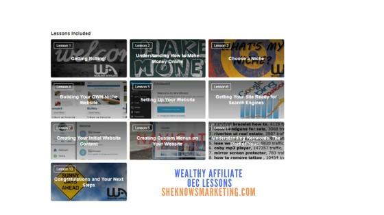 Wealthy affiliate Online Entrepreneurship Certification Lessons