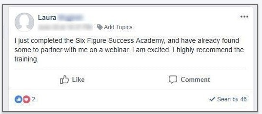 Six Figure Success Academy Reviews - Testimonial 1