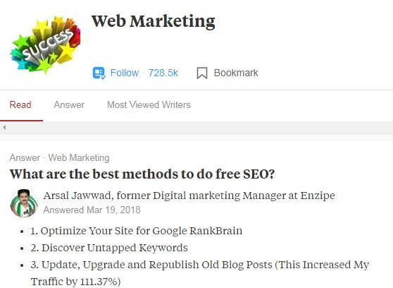 A snippet of  SEO question asked In Quora