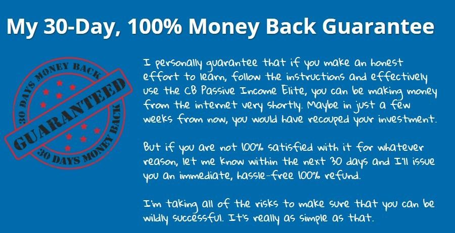 CB Passive Income Elite Review - Money Back Guarantee