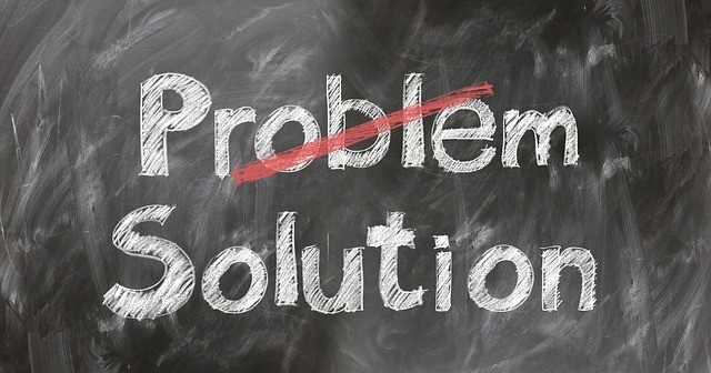 How to promote affiliate products on my website - black board with the words Problem and solution