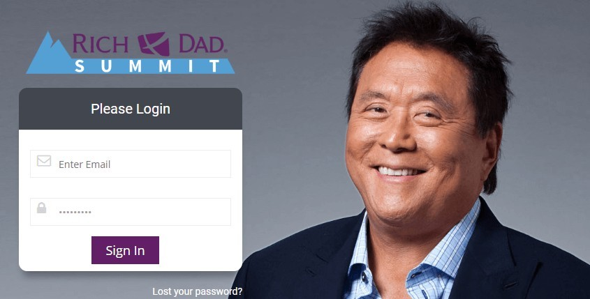 A Rich Dad Summit Review - Login Page