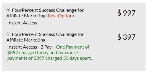 4 percent success challenge prices