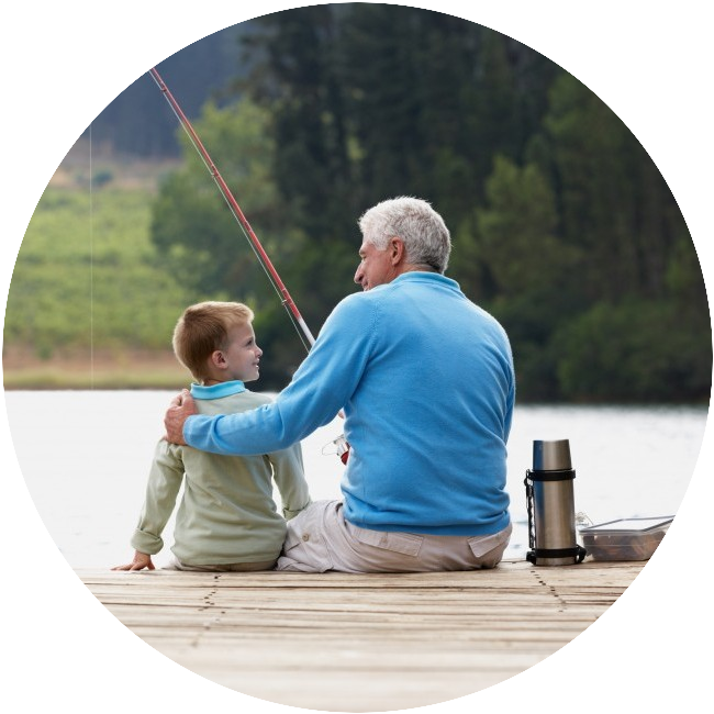 grandpa fishing with grandson