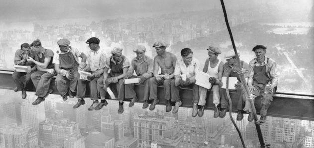 Lunch atop a skyscraper photograph
