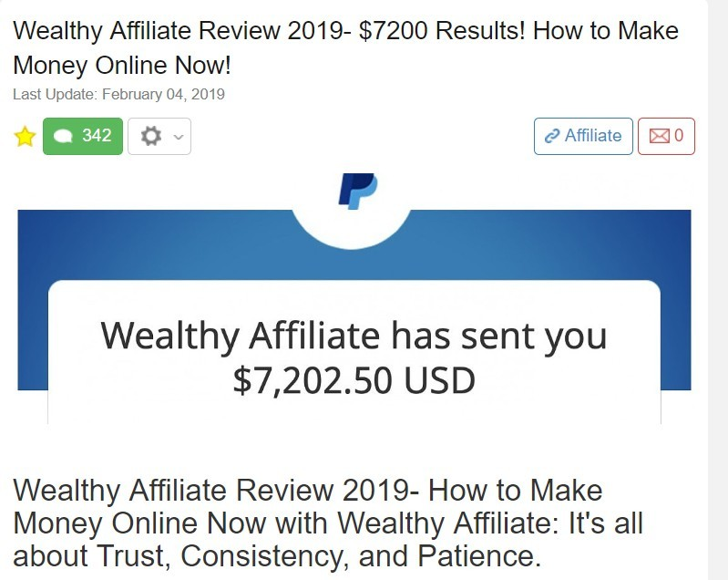 money earned at Wealthy Affiliate