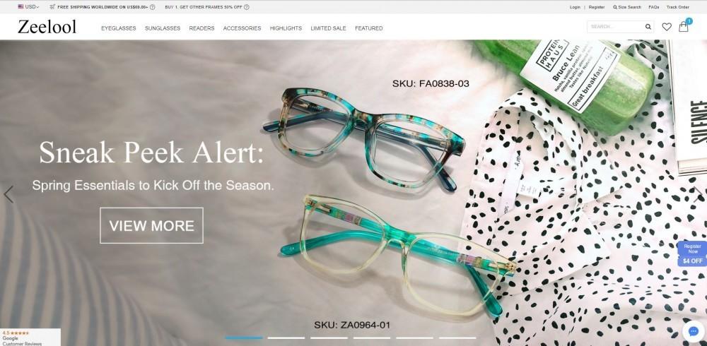 Zeelool Homepage