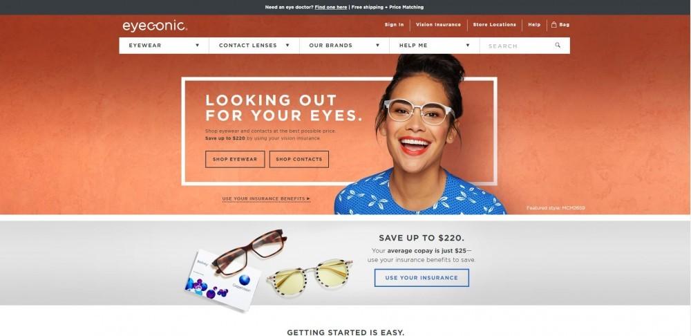 Homepage of Eyeconic Eyewear