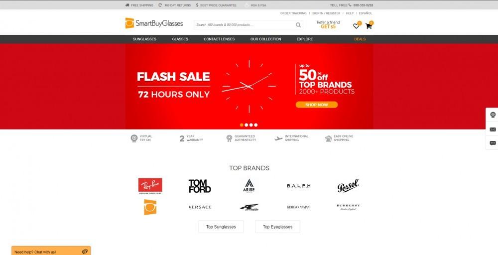 SmartBuyGlasses homepage