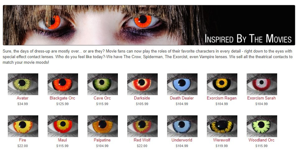 Movie Inspired Halloween Contact lenses
