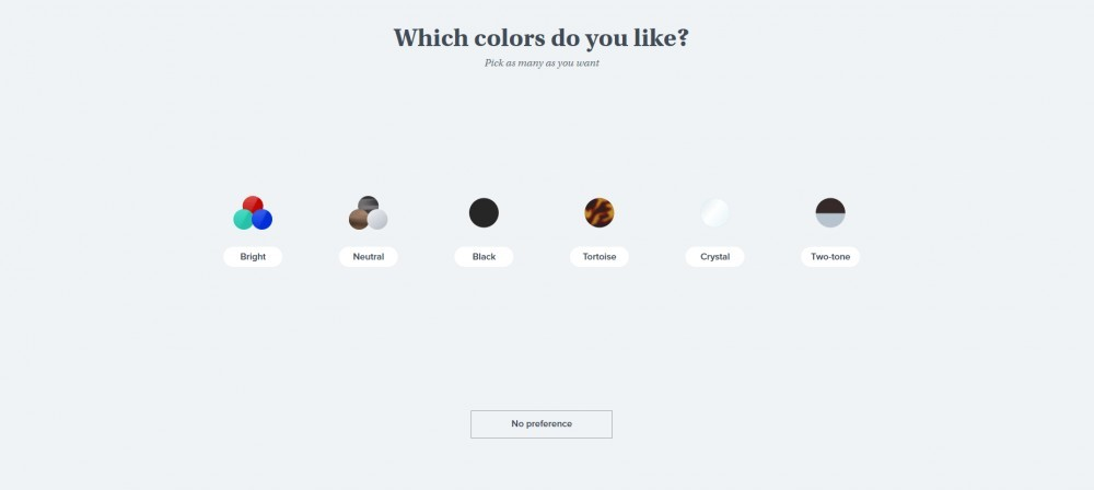 Warby Parker Try at Home quiz colors