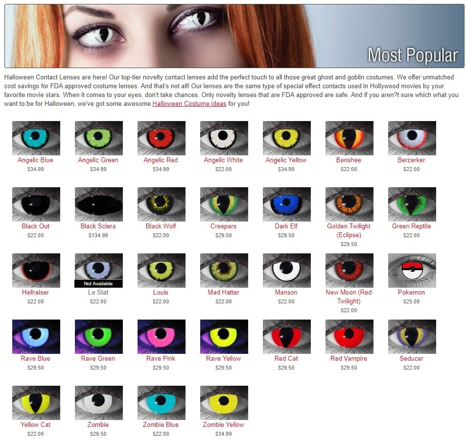 Popular Halloween Contact lenses