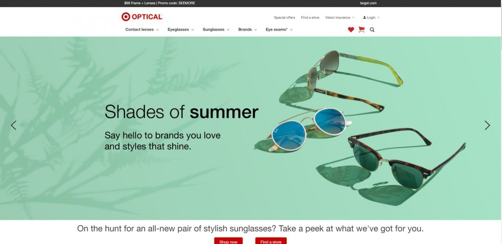Homepage of Target Optical