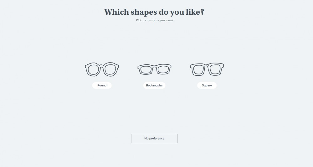 Warby Parker Try at Home quiz frame shape