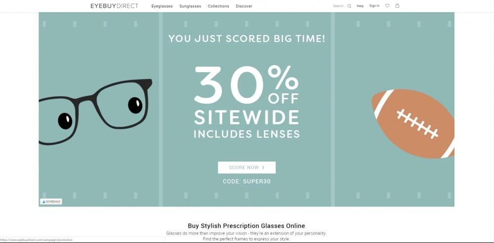 EyeBuyDirect Homepage