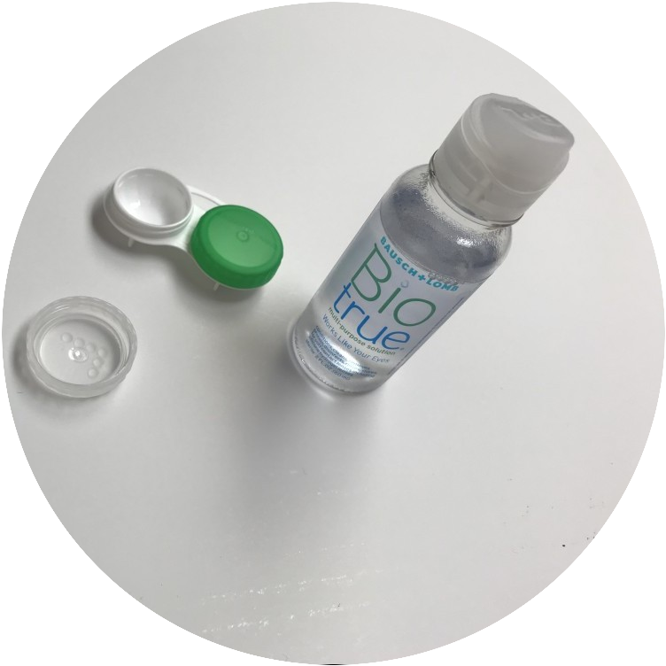 Contact lens solution and contact lens case