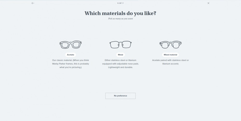 Warby Parker Try at Home quiz material