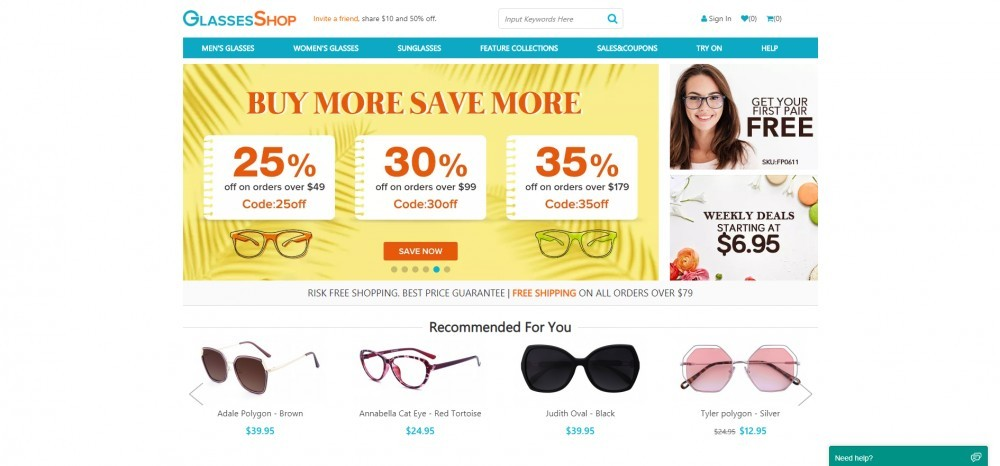 GlassesShop Homepage