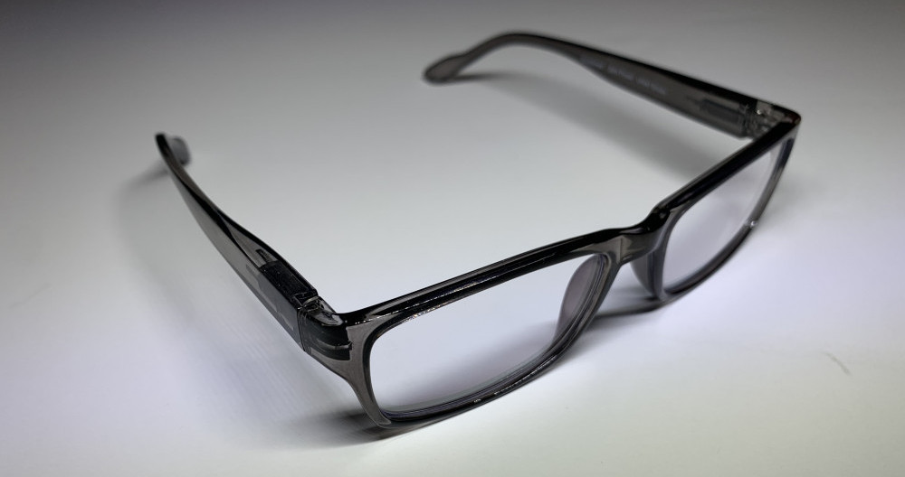 grey rectangular reading glasses