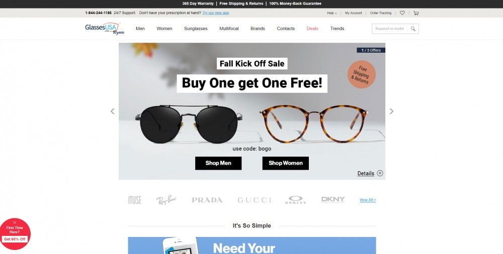 GlassesUSA Homepage