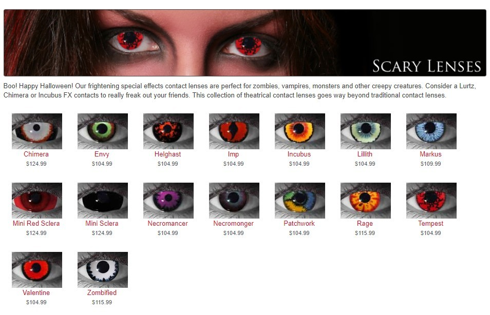 Scary Halloween Contact Lenses.