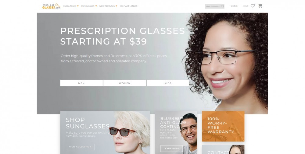 39DollarGlasses.com Homepage
